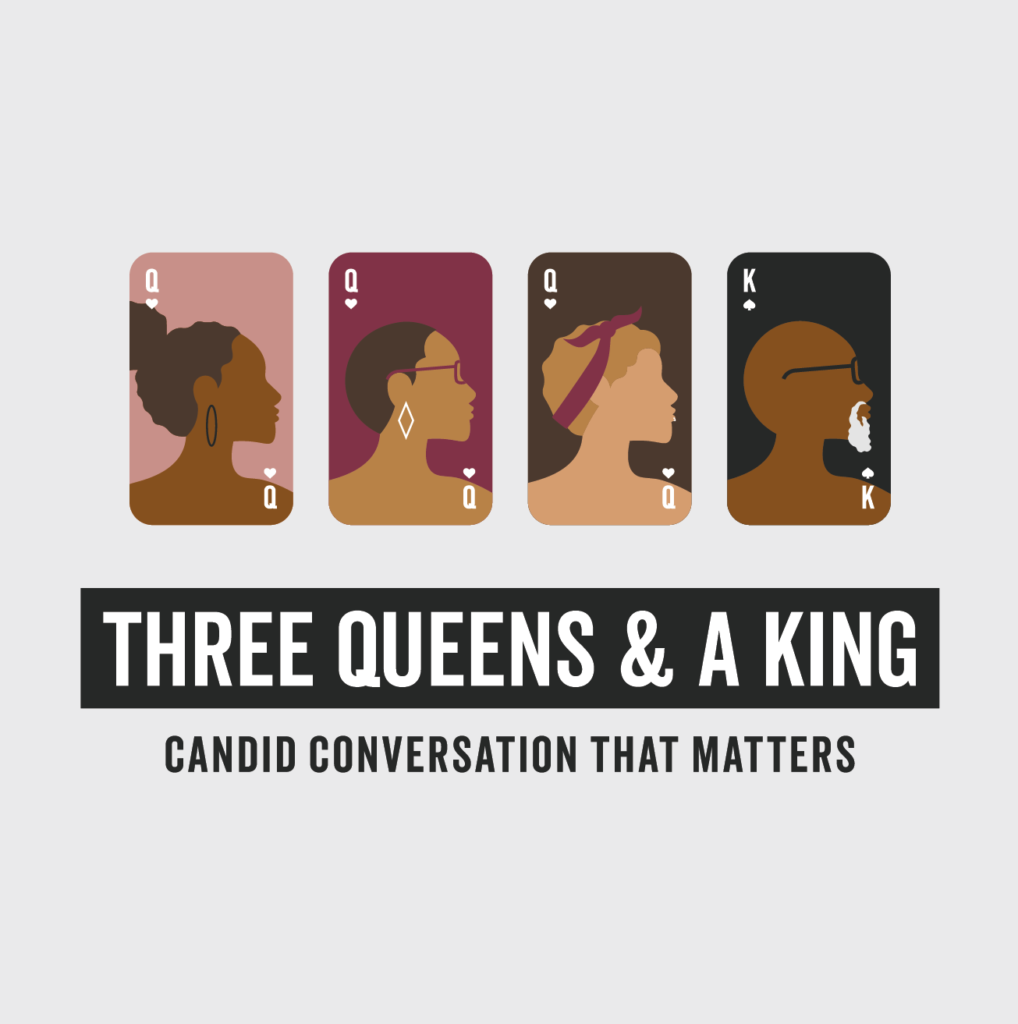 Three Queens and a King cover art for podcast